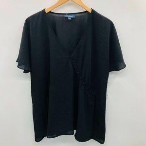 Modcloth Short Sleeve V Neck Blouse Black 301
